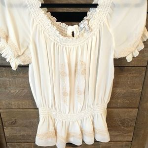 Joie Silk Peasant Embroidered Blouse XS
